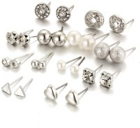 Jewels Galaxy Trendy Silver Pearl Alloy Stud Earring