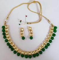 Grafom Alloy Earring & Necklace Set Jewel Set(Green)
