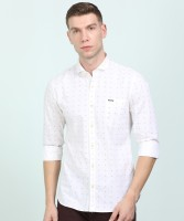 Peter England University Men Printed Casual White Shirt