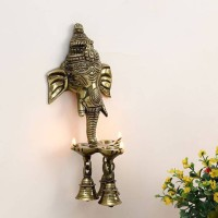 eCraftIndia Ganesh Wall Hanging Deepak With Bell Decorative Showpiece  -  24 cm(Brass, Brown)