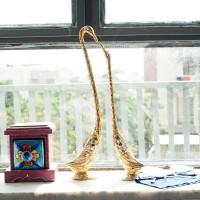 eCraftIndia Cute Love Birds with 13 Inch Height Decorative Figurine Decorative Showpiece  -  33 cm(Aluminium, Multicolor)