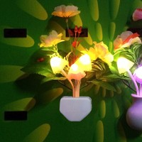 WORA Night Lamps Yellow Flower Pot Color Changing Light & Mushrooms Light Sensor LED Decorative Night Lamp(16 cm, Multicolor)