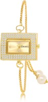 LOREM Gold-Square Diamond Studded Tied Lock Metal Analog Watch  - For Women