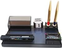 PANKU 5 Compartments Acrylic Desk organizer(Smoke Black)