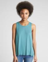 GAP Casual Sleeveless Solid Women Blue Top