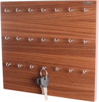 Captiver 21 Hook Key Holder Box Classic Walnut/Wall Mounted Keychain Rack Cabinate Storage Stand Wood, Steel Key Holder(21 Hooks, Brown)