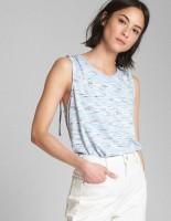 GAP Casual Sleeveless Striped Women Blue Top