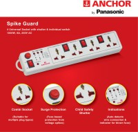 Anchor by Panasonic Spike Guard- 4 Universal Socket Shutter with Individual Switch 4  Socket Extension Boards(White)