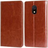 Unistuff Flip Cover for Mi Redmi 8A(Executive Brown, 1 ID Card Slot, 1 Cash Slot, 2 Debit/Credit Card Slot, Dual Protection)