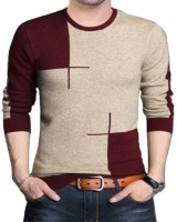 Try This Color Block Men Round Neck Maroon T-Shirt