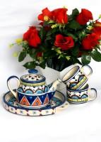 Bobby Designs Pack of 4 Ceramic Designs Ceramic Handcrafted Tea/Coffee Set(Multicolor)