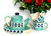 Bobby Designs Pack of 4 Ceramic Designs Ceramic Handmade Stylish & Rich Look Tea/Coffee Set(Multicolor)