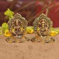 Collectible India Laxmi Ganesh Set Idol Decorative Showpiece  -  13 cm(Aluminium, Gold)