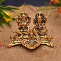 Collectible India Laxmi Ganesh Idol showpiece -Brass Diya Oil Lamp For Diwali Puja Decorative Showpiece  -  20.32 cm(Aluminium, Gold)