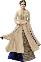 Julee Crepe Embroidered Gown/Anarkali Kurta & Bottom Material(Semi Stitched)