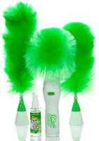 SPJ ENTERPRISE Hand-Held, Sward Go Dust Electric Feather Spin Home Duster, Green. Electronic Motorized Cleaning Brush Three (3) Wet and Dry Duster Set