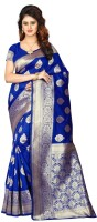 Shoppershopee Self Design Banarasi Poly Silk Saree(Blue)
