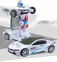 Toysale Sports Car Toy with Convertible Robot (White)