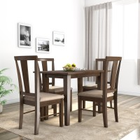 Flipkart Perfect Homes Fraser Solid Wood 4 Seater Dining Set(Finish Color - American Walnut)