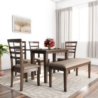 Flipkart Perfect Homes Hayman Solid Wood 6 Seater Dining Set(Finish Color - American Walnut)