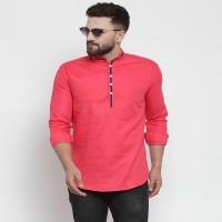 REGNO FAB Men Solid Straight Kurta(Pink)