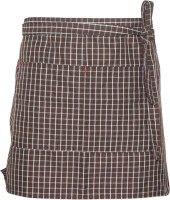 Universal Unisex Grid Bib Apron with Pockets Chef Cook Tool Coffee(Brown)