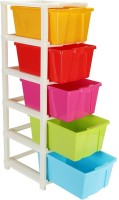 Joyful Plastic Free Standing Cabinet(Finish Color - Multi with Red)