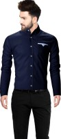 Crally Men Solid Casual Blue Shirt