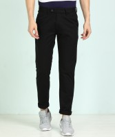 Peter England University Slim Fit Men Black Trousers
