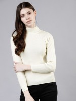 TOKYO TALKIES Solid High Neck Casual Women White Sweater