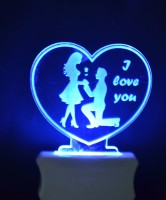 Gojeeva The Couple Heart 3D illusion Night Lamp is Extremely cool and 3D illusion Design Night Lamp(12 cm, Clear)
