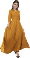 Rudraaksha Women Gown Yellow Dress