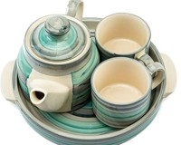 Bobby Designs Pack of 4 Ceramic Ceramic Tea Set, Handmade Kettle Set, Kettle Set with Cups & Tray (Model 2)(Multicolor)