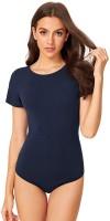ELEVANTO Basic Solids Women Dark Blue Bodysuit