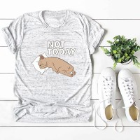Women Funny T-shirt Cute Dog NOT TODAY Print Short Sleeves O Neck Cool Tees Casual Tops Hipster Clothing