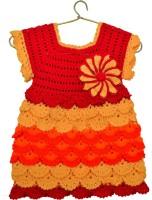 snowbhima Midi/Knee Length Festive/Wedding Dress(Red, Short Sleeve)