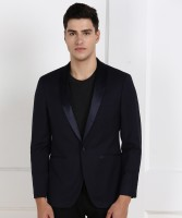 Peter England Self Design Tuxedo Style Party Men Blazer(Dark Blue)