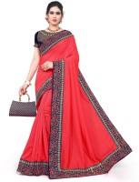 Krishna R fashion Embroidered Bollywood Poly Crepe Saree(Brown)