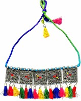 RSPR Afghani Boho Art Oxidised Traditional Choker Necklace for Women and Girls Silver Plated Alloy Choker
