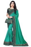 Krishna R fashion Embroidered Bollywood Poly Crepe Saree(Dark Green)