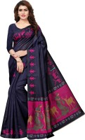 Saara Printed, Animal Print Fashion Art Silk Saree(Multicolor, Dark Blue, Pink)