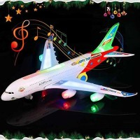 Hardik Toys Airplane Toy Kids Toy Plane Airbus with Flashing Lights, Realistic Aircraft Jet Engine Sounds, Changes Direction Auto, Bump and Go Action Toy Airplanes for 3+ Years(Colors May Vary)(Multicolor)