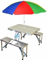Oxfo Aluminium Portable Folding Camp Suitcase Table 4 Seater Attached Lawn Dining Bench and Chair Set for Garden, Indoor, Outdoor Metal Outdoor Table(Finish Color - silver)