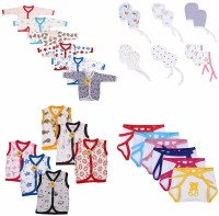 Fareto New Born Baby Care Daily Wear Essential Items in Single Pack 6 Vest/6 Full Sleeves Shirt/6 Nappies/ 6 Mittens(0-6 Months)(Multicolor)