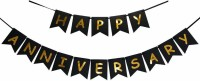 PartyballoonsHK Happy Anniversary Banner Bunting Flag for Anniversary Party Decoration (Black) Banner(6.5 ft, Pack of 1)