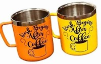 HANDCUFFS Pack of 2 Steel Stainless Steel Double Walled Mugs: 100% BPA Free,15 oz Metal Coffee & Tea Cup Mug - Insulated Cups with Handles Keep Drinks Hot or Cold Longer - Durable for Camping - Set of 2(Yellow, Orange)