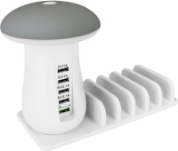 RETRACK Multi Port USB Charger USB Charging Station Dock QC 3.0 Quick Mushroom Night Lamp Charger Multiport Mobile Charger with Detachable Cable(White)