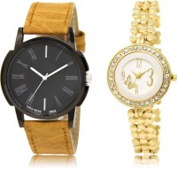 FASHION POOL NEW ARRIVAL FAST SELLING ROUND ANALOGUE DIAL '' GOLD & BLACK '' COUPLE COMBO. METAL & LEATHER BELT NEW ARRIVAL FAST SELLING TRACK DESIGNER WATCH FOR FESTIVAL_PARTY_PROFESSIONAL_VALENTINE_BIRTHDAY GIFT SPECIAL COMBO WATCH FOR MEN_WOMEN Analog Watch  - For Couple