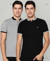 Metronaut Solid Men Polo Neck Black, Grey T-Shirt(Pack of 2)