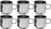 RISHI METAL Stainless Steel Cup Mug for Tea & Coffee (8 Corner) - Set of 6 - 80ml Steel(Steel)